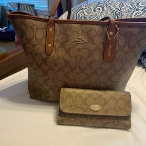 Authentic Coach Tote Bag and Wallet